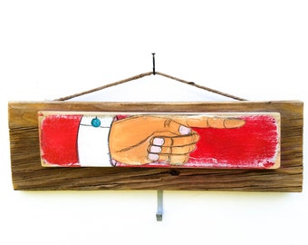 Rustic Pointing Hand Sign Wooden Vintage Style Boardwalk Sign Pointing Finger Carnival Kids Room Storefront Shop Sign Beach Decor Mangoseed