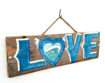 Personalize This Original Art Item-Blue Love Sign Handmade on Reclaimed Wood Rustic Wedding Beach WeddingAnniversary Bridal Shower Mangoseed