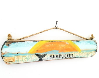 Nantucket-Personalize and Adopt This Original Art-Nantucket Beach Sunrise Sunset Reclaimed Wood Beach Decor Art Whale Home Goods Mangoseed