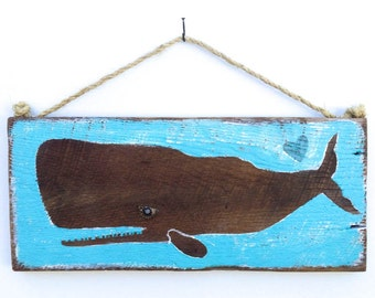 Personalize This Original Art Item-Turquoise Whale Art Handmade Beach House Decor Whale Beach Kid Room Beach Art Whale Baby Room Mangoseed