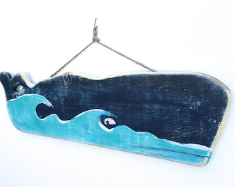 Personalize This Original Art Item-Large Whale Art Handmade Wood Wall Hanging Beach House DecorWhale Baby Room Mangoseed