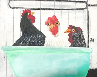 Chicken Art Print-Beach Decor Artwork Print- Key West Chickens in a Bathtub-Home Decor-Title: Third Wheel Mangoseed