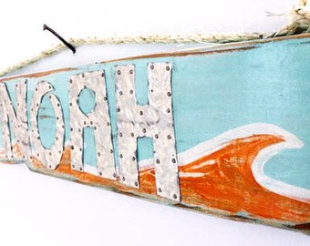 Personalized Kids Name Sign Kids  Baby Name Sign Shabby Chic Orange Turquoise Beach Sign Surf Beach Baby Nursery
