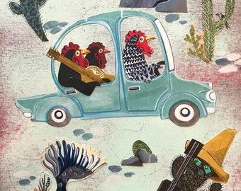 Artwork by Christina Rowe - 8x10 Chicken Art Print - Mangoseed