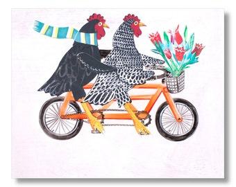 Chicken Bicycle Artwork-Title: Bertha and Ebenezer-Chicken Art Print Key West Beach Decor-Home Decor Mangoseed Christina Rowe