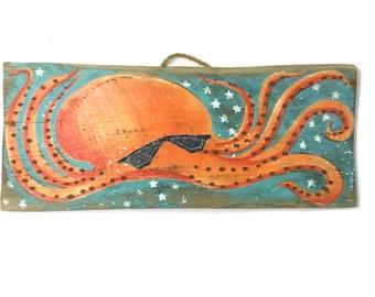 Octopus Art Hipster Beach Gender Neutral Personalize Original Art Beach Decor OOAK Original Art Shabby Chic Surf Reclaimed Wood Mangoseed