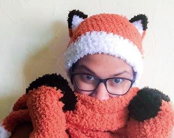Adult Fox Hat / Woodland Animal Hat Unisex Fox Beanie / Woodland Creature Fox Ears Costume / Orange Hat / Woodland Animal Photo Prop /