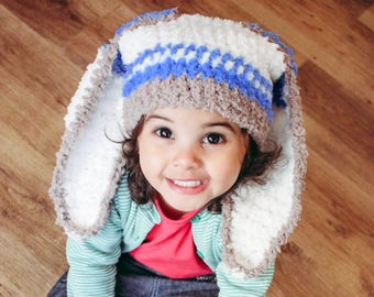 5T to Teen Blue Stripe Bunny Hat Crochet Childs Hat Bunny Beanie Brown Lagoon Blue Cream Kids Bunny Hat Boy   Kids, Baby Gift