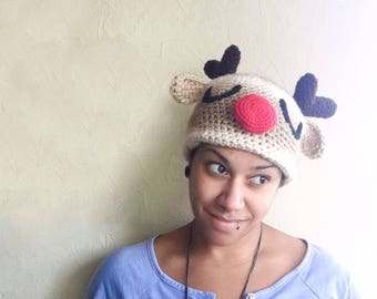 Adult Size Rudolph The Red Nose Reindeer Christmas Hat, Reindeer Beanie Christmas Costume, Christmas Reindeer Photo Prop Winter Hat