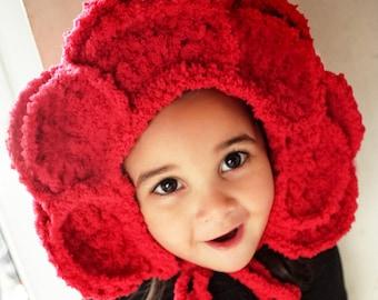 2T to 4T Red Rose Flower Bonnet, Rose Flower Hat, Toddler Girl Hat, Flower Girl Hood, Rose Petals Toddler Hat Flower Costume Photo Prop