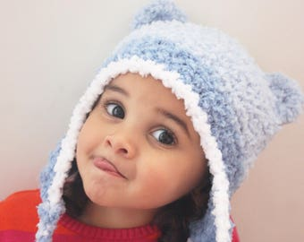 2T to 4T Earflap Toddler Hat, Blue Bear Beanie, Crochet Bear Hat, Blue White Bear Toddler Beanie, EarFlap Hat Photo Prop