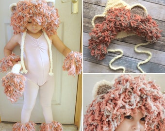 Kids Lion Mane Hood Hat With Cuffs & Tail, Unisex Crochet Toddler King Of The Jungle Costume For Halloween