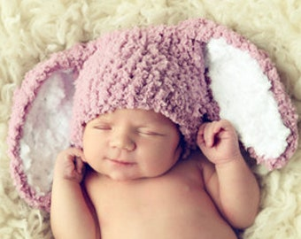 0 to 3m Newborn Baby Hat Bunny Hat, Newborn Girl Bunny Ears Photo Prop, Newborn Hat, Crochet Baby Hat, Rose Bunny Costume Baby Gift