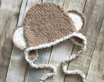 5T to Teen Monkey Hat Brown Cream Kids Hat Crochet Monkey Earflap Hat Monkey Beanie Monkey Ears Earflap Monkey Prop   Kids