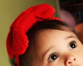 6 to 12m Bow Baby Headband, Red Bow Headband, Baby Girl Bow, Girl Bow Headband, Girl Baby Headband, Baby Red Headband Photo Prop  Baby Gift