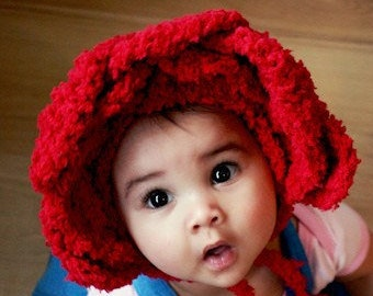12 to 24m Red Rose Baby Flower Petals Bonnet, Valentines Day Floral Girl Baby Photo Prop, Toddler Pixie Childrens Hat
