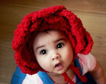 b03955e7b35 3 to 6m Baby Red Rose Flower Hat Infant Bonnet Kids Gift