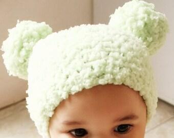 6 to 12m Green Baby Pom Pom Hat Crochet Pom Pom Beanie Crochet Baby Hat Lime Green Pom Pom Photo Prop Photo Prop