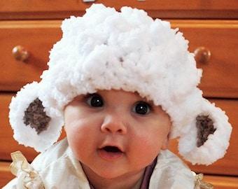 0 to 3m Lamb Hat Newborn Baby Lamb Beanie Baby Shower Gift Crochet Baby Hat Farm Animal Hat White Baby Sheep Hat Photo Prop Baby Gift