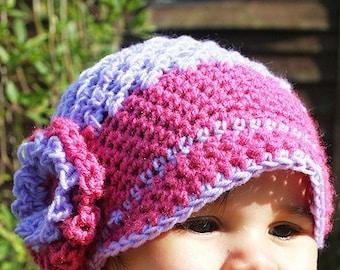 3 to 6m Girl Newsboy Hat, Pink Newsboy Hat, Purple Flower Flapper Hat, Baby Hat, Luxury Merino Brim Newsgirl Hat Prop