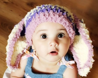 12 to 24m Baby Bunny Hat Stripe Beanie Crochet Baby Hat Baby Plum Purple Yellow Hat Rabbit Toddler Beanie Girl Photo Prop, Baby Gift