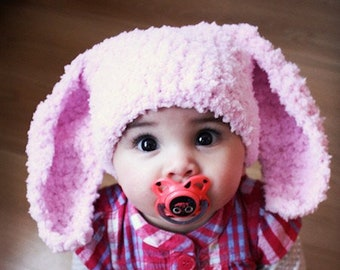 6 to 12m Pink Baby Bunny Hat Baby Beanie Crochet Easter Baby Hat Baby Pink Bunny Ears Rabbit Hat Animal Photograpy Prop, Baby Gift
