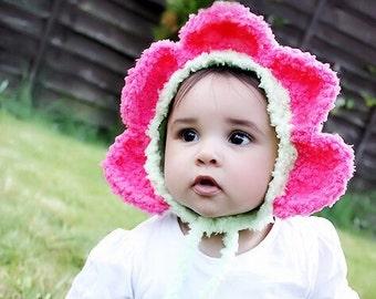 0 to 3m Newborn Flower Bonnet, Petals Hood, Crochet Baby Daisy Hat, Green Pink Newborn Baby Hat, Flower Hat Baby Shower Gift Daisies Costume