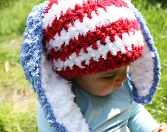 6 to 12m 4th of July Baby Bunny Hat Stars and Stripes Patriotic Gift, Red White and Blue Crochet Bunny Ears Baby Hat USA Flag Baby Outfit