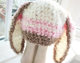 2T to 4T Pink Bunny Childrens Hat, Crochet Toddler Bunny Hat, Cream Brown Baby Pink Stripe Girl Toddler Hat, Bunny Ears Photo Prop