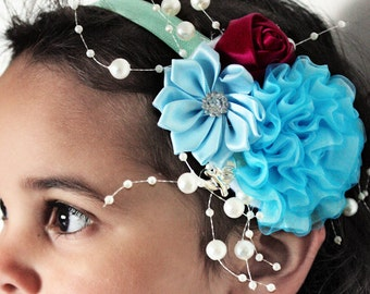 Blue Flower Hair Piece Pearl Headband, Wedding Headpiece, Flower Headband, Flower Girl Gift, Bridesmaid Flowers Hair Accessories 5T to Adult