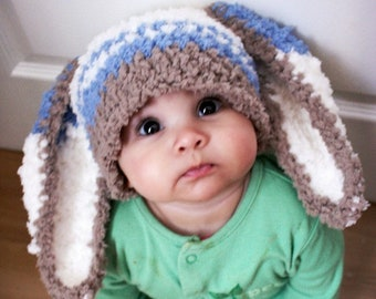 0 to 3m Newborn Boy Hat Baby Hat, Newborn Hat Baby Boy Bunny Ears Newborn Photo Prop, Newborn Costume Blue Stripe Bunny Hat Shower Gift