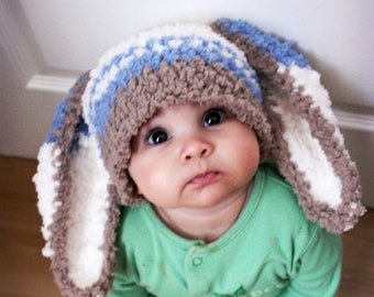 3080bba4ce6 3 to 6m Boy Baby Easter Bunny Ears Beanie Blue Stripe Winter