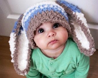0 to 3m Newborn Baby Hat, Bunny Hat, Blue Stripe Bunny Beanie, Baby Boy Hat, Newborn Hat Brown Blue Cream Bunny Ears Photo Prop Shower Gift