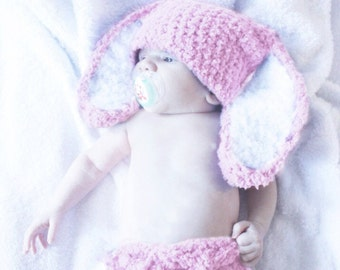 12 to 24m Bunny Hat Set, Baby Pink Bunny Diaper Cover Set, Bunny Beanie Crochet Baby Hat Bunny Ears, Baby Bunny Photo Prop Bunny Costume