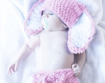 0 to 3m Newborn Baby Pink Bunny Hat Pom Pom Diaper Cover Set Baby Hat Bunny Ears Costume Pink White Baby Shower Gift