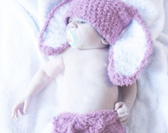 0 to 3m Plum Bunny Diaper Cover Set, Bunny Hat Set Newborn Girl Baby Hat, Bunny Ears Photo Prop Baby Shower Gift Newborn Hat, Baby Gift