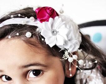 12m to 4T Baby Headband, White Flower Headband, Luxury Baby Girl Wedding Headband, Raspberry Rose, Flower Girl Christening Photo Prop