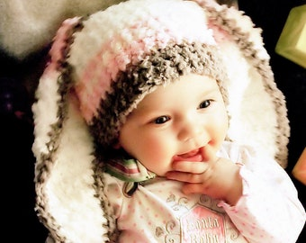 3 to 6m Baby Hat Stripe Bunny Beanie, Crochet Girls Bunny Ears in Brown, Baby Pink & Cream, Childrens Rabbit Hat Infant Photo Prop Baby Gift