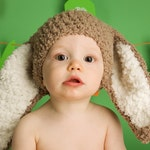 2T to 4T Brown Bunny Ears Toddler Photo Prop, Crochet Kids Easter Rabbit Beanie, Childrens Halloween Animal Costume Neutral Woodland Theme