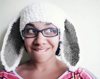 Adult Bunny Ears Hat in White   Plum Kid and Teen Large  31785f282da