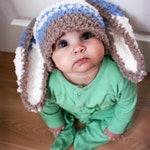 3 to 6m Boy Baby Bunny Ears Hat, Halloween Stripe Sitter Prop, Brown Blue and Cream Costume Piece, Crochet Rabbit Animal Beanie