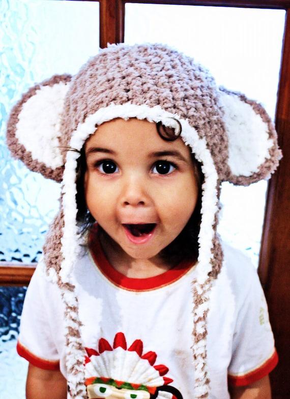 6 to 12m Monkey Baby Hat Diaper Cover Set Crochet Baby Monkey Hat Earflap Baby Monkey Hat Set Prop Brown Hat Photo Prop