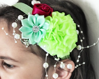 5T to Adult Lime Flower Headband, Flower Girl Headband, Wedding Headband, Luxury Headband, Raspberry Rose Childrens Headband Photo Prop
