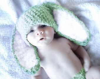 2T to 4T Lime Kids Bunny Hat, Crochet Toddler Hat, Toddler Bunny Beanie, Unisex Kids Hat, Green White Bunny Hat, Flopsy Bunny Ear Prop