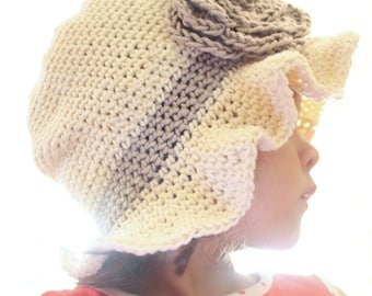 5T to Teen Sun Flower Crochet Girls Cloche, Cream and Taupe Pure Cotton Sun Hat For Summer, Wide Ruffle Brim Floppy Beach Accessory For Kids