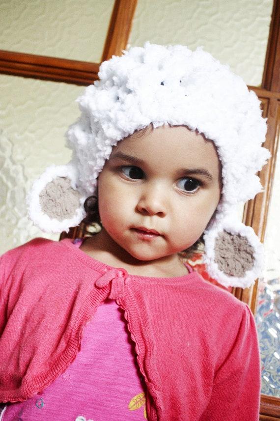 Erwachsenen häkeln Lamm Mütze weißes Lamm Schaf Tier Hut | Etsy