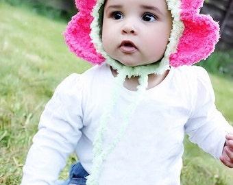 3 to 6m Daisy Flower Hat, Crochet Baby Hat, Flower Bonnet, Pixie hat, Elf Hat, Infant Hat, Lime Hot Pink Girl Baby Photo Prop