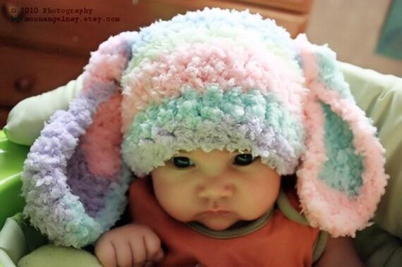 3 Bis 6m Rainbow Baby Bunny Mütze Häkeln Hasenohren Für Etsy