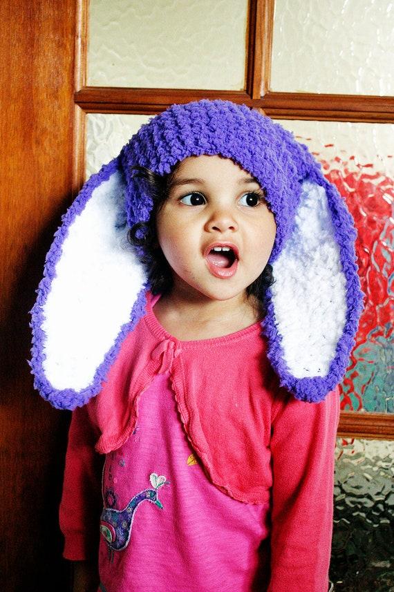 12 Bis 24m Lila Häkeln Baby Bunny Ohren Baby Mütze Baby Mädchen Kaninchen Baby Ostern Hase Hut Baby Beanie Kleinkind Foto Prop Winter Kostüm