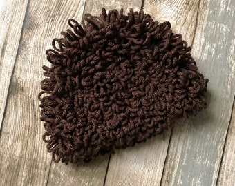 Loopy Baby Wig, Chocolate Brown Crochet Curly Afro Beanie, Cabbage Patch Style Costume Hat For Girls and Boys, Choose Your Size and Colour